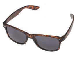 Brun leopard solbrille med sort glas.