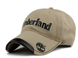 Grå Cap med Påtrykt Timberland. Brun Kunstlæder på skyggekant