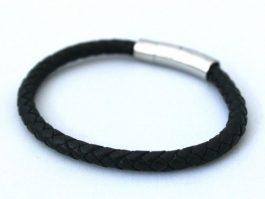 Roma – Sort læder armbånd.