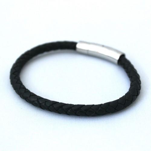 Roma – Sort læder armbånd med metallås.