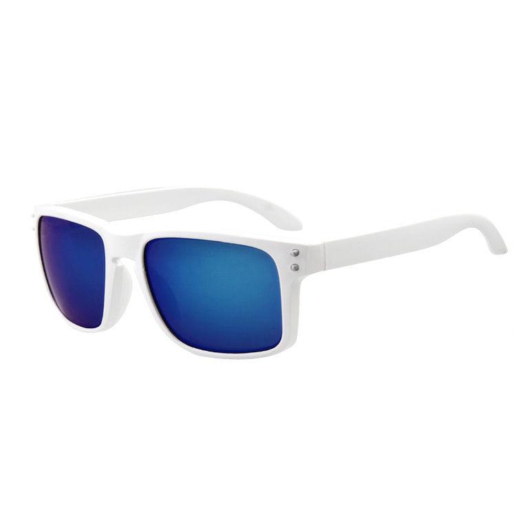 Hvide Solbriller med Blåt spejlglas