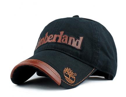 Sort Cap med Påtrykt Timberland. Brun Kunstlæder på skyggekant