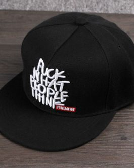 Sort cap med print. Fuck what people think