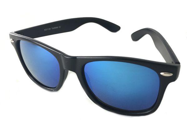 Wayfarer solbriller med blå spejlglas