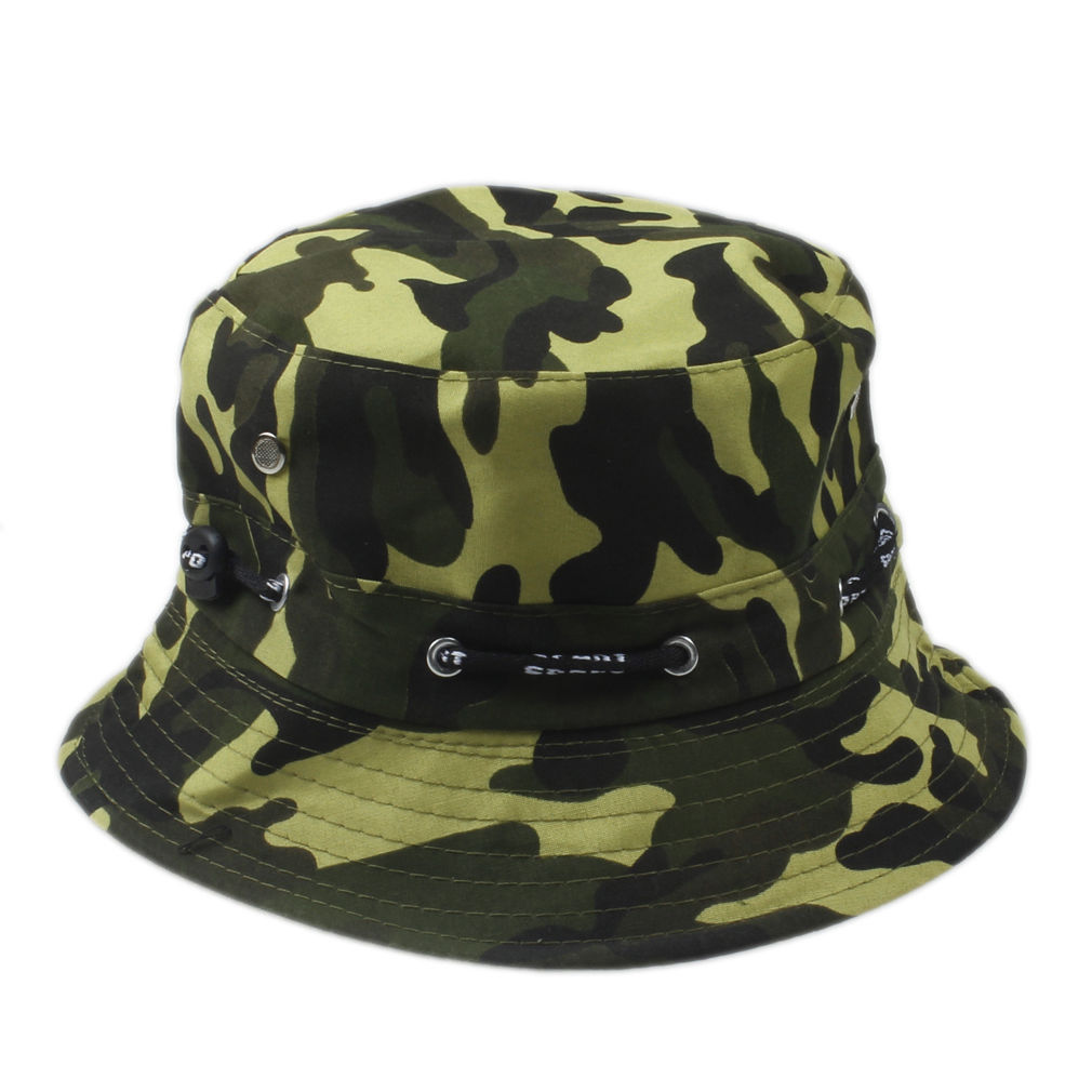 Grøn camouflage bucket hat