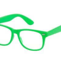 Neon grøn Wayfarer briller med klart glas