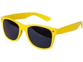 Gul Wayfarer solbrille med sort glas til børn