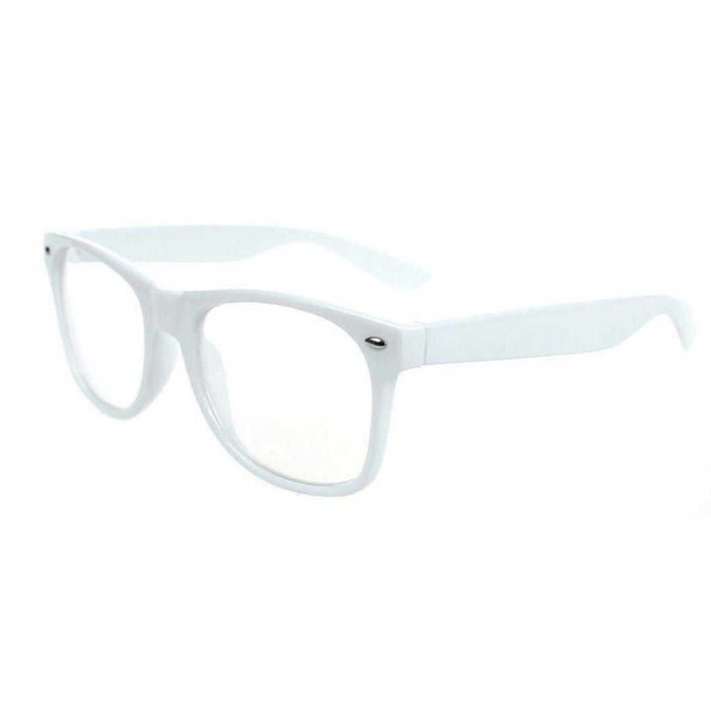Hvid wayfarer solbriller med klart glas