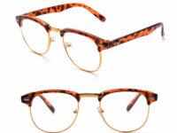 Brun leopard brille med guldkant