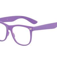 Lilla wayfarer briller med klart glas.