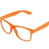 orange Wayfarer briller med klart glas.