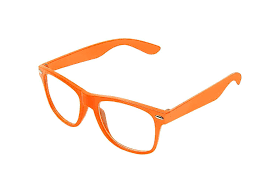 orange Wayfarer briller med klart glas.