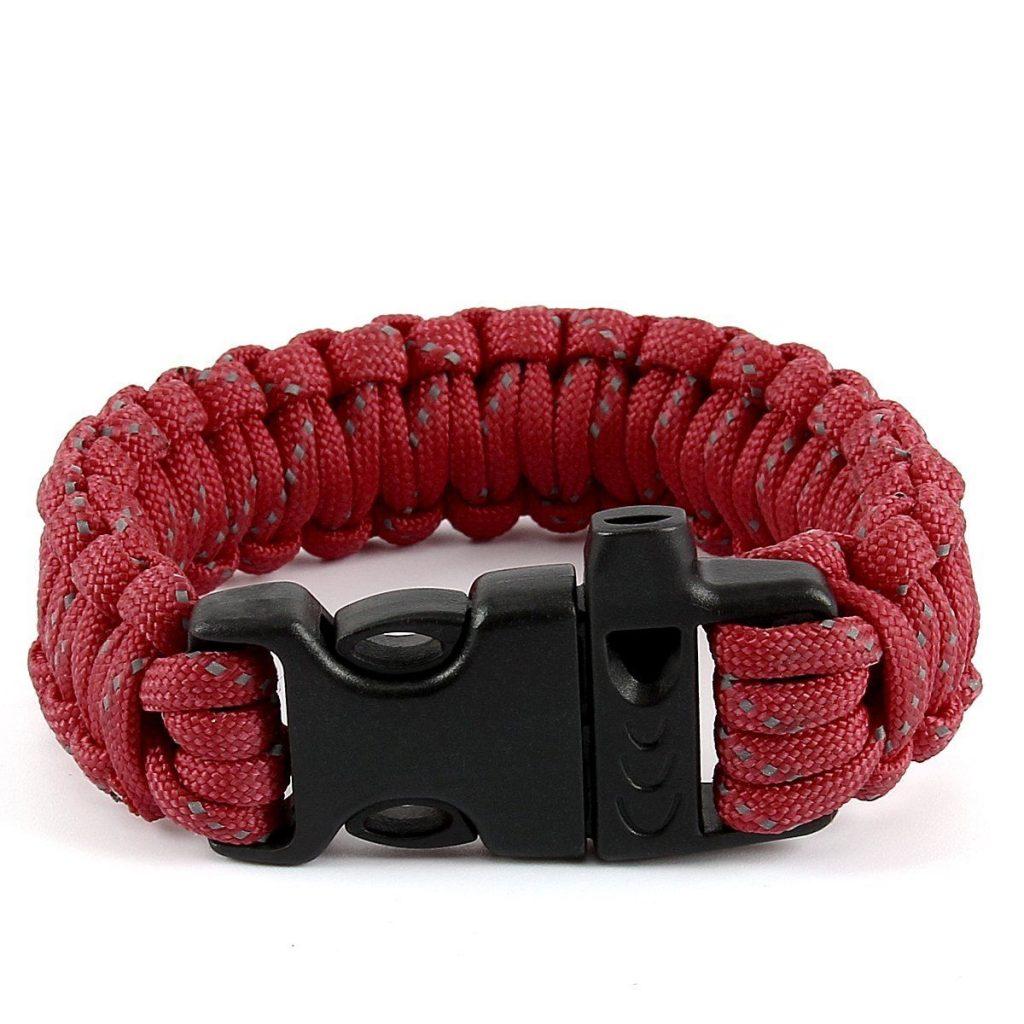 Rødt Paracord armbånd med grå nister.