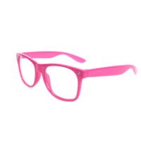 Pink wayfarer briller med klart glas.