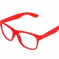 RødeWayfarer briller med klart glas.