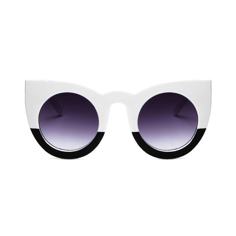 Stor oversized sort og hvid solbrille