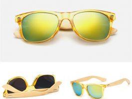 Gul Transparant Solbrille med spejlglas og stænger af bambus.