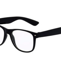 Matsorte Wayfarer briller med klart glas