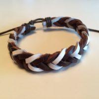 Waylor – Brunt og Hvidt læder armbånd.