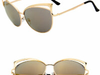 Solbriller i guld og med glas i guld spejlrefleks