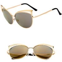 Solbrille i guld og med glas i guld spejlrefleks