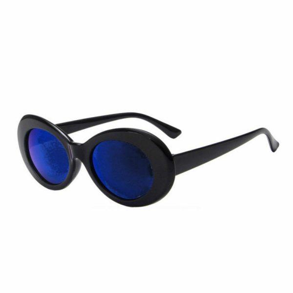 Sort flower power hippie solbrille med blå spejlglas