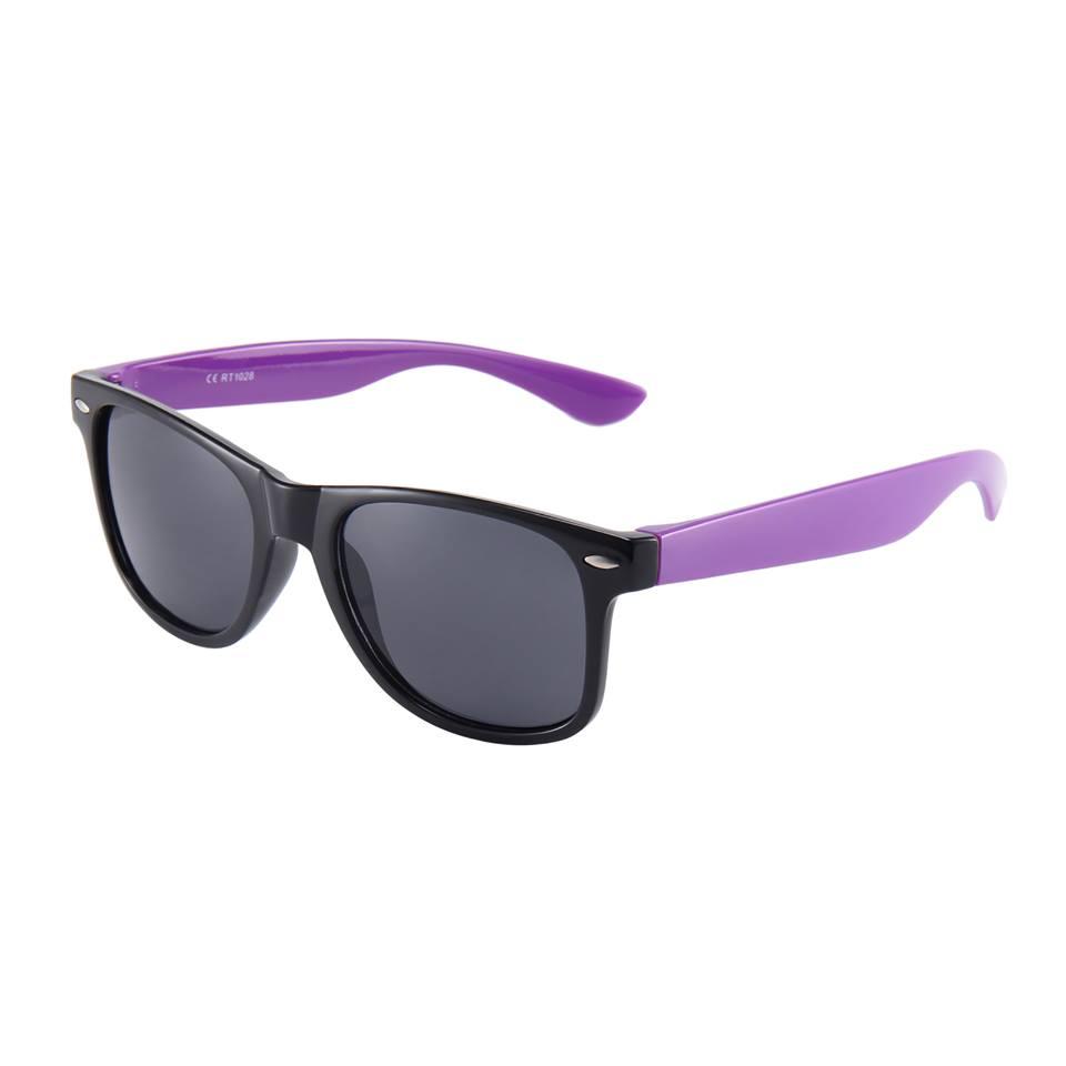 Sort Wayfarer briller med lilla stænger