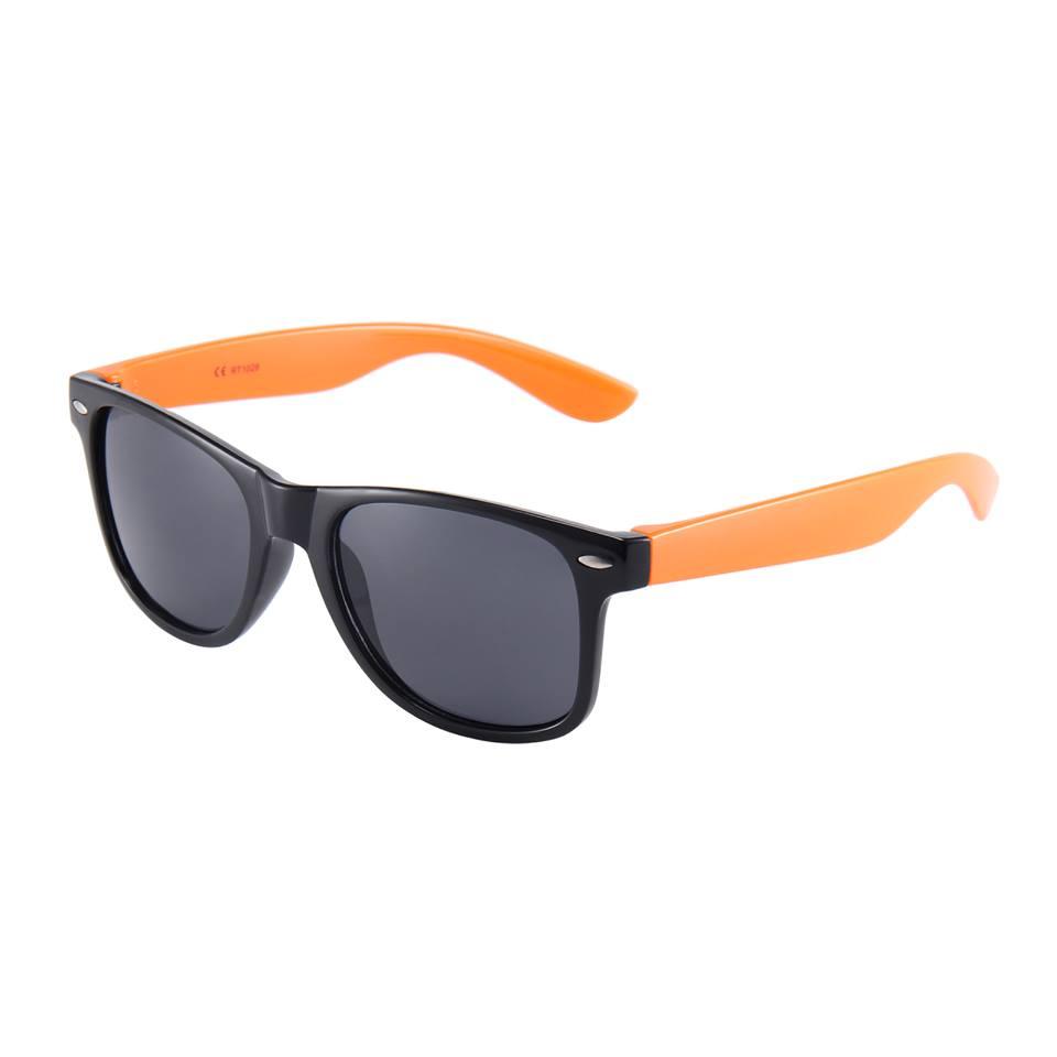Sort Wayfarer brille med orange stænger
