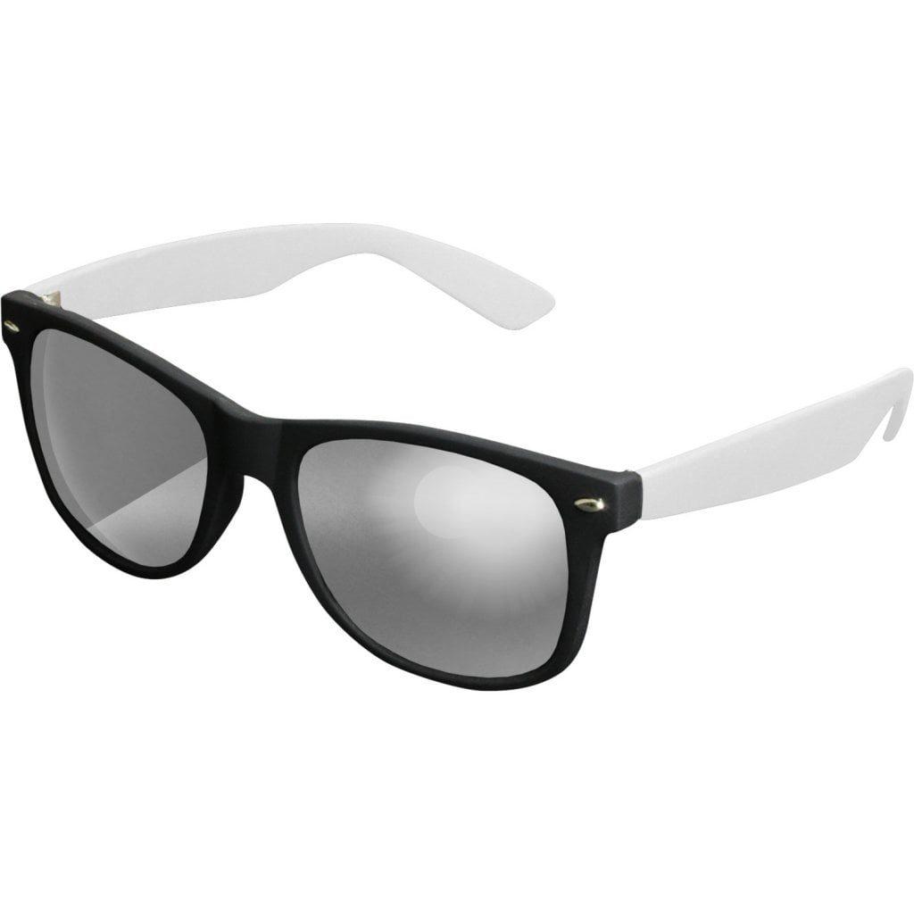 Sort Wayfarer solbrille med spejlglas og hvide stænger.
