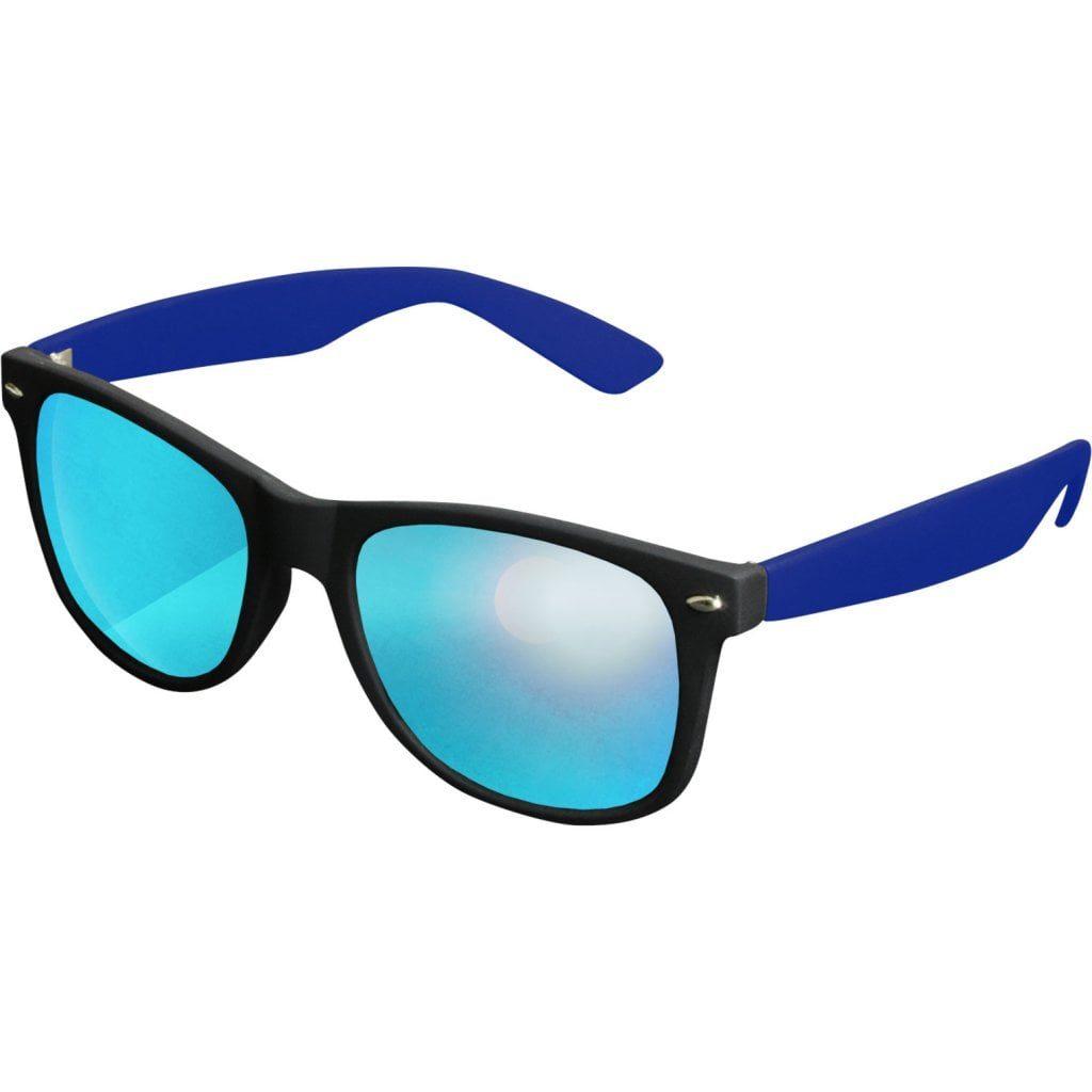 Sort Wayfarer solbrille med spejlglas og blå stænger.