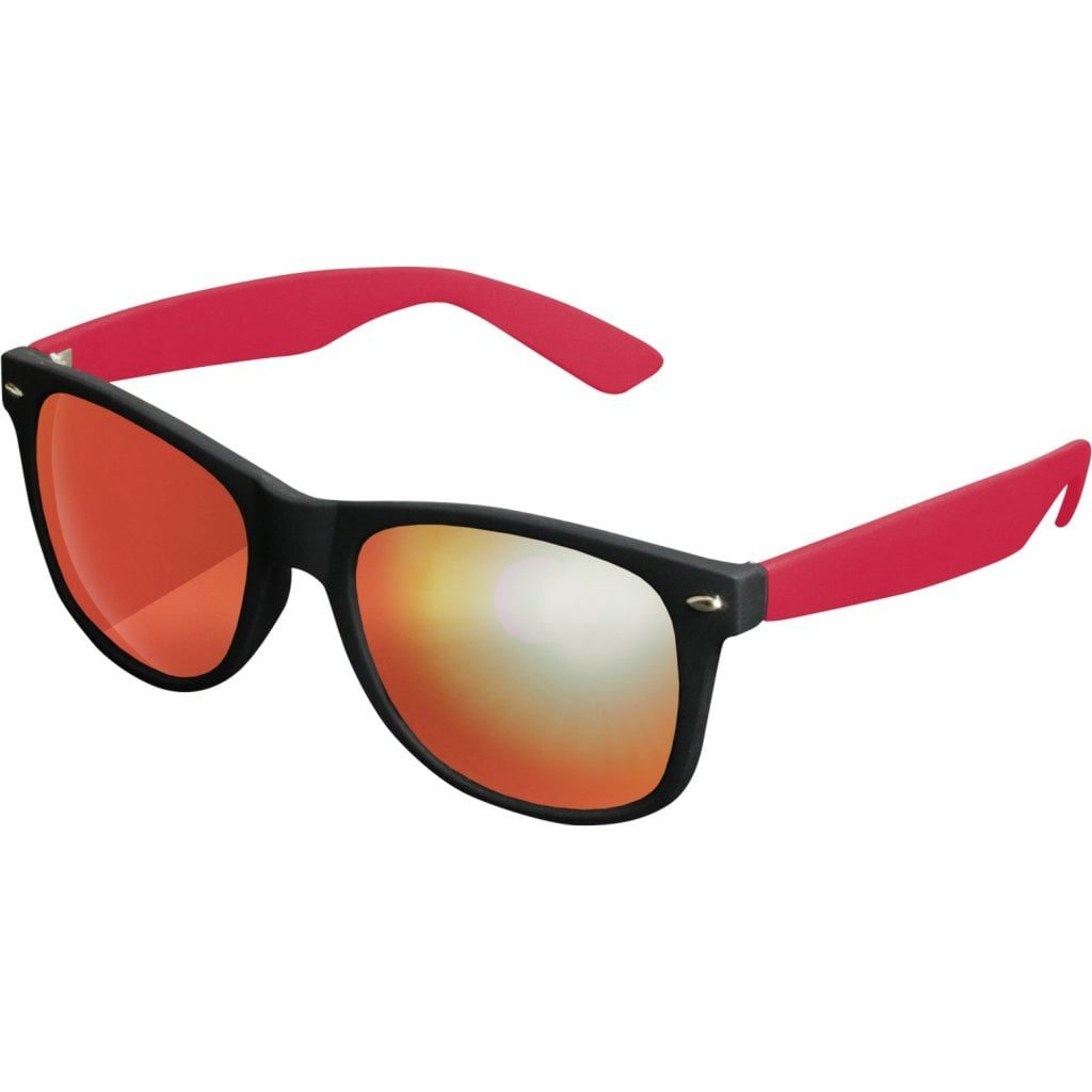 Sort Wayfarer solbrille med spejlglas og røde stænger
