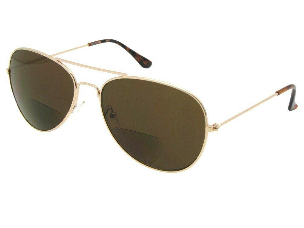 Pilot solbriller med guldfarvet stel og brunt glas
