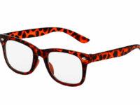 Leopard brun Wayfarer briller med klart glas.