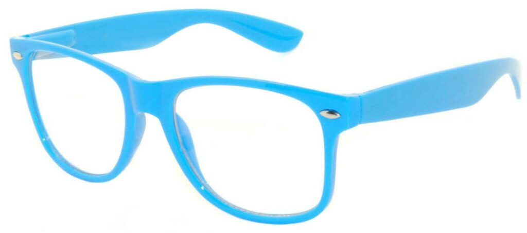 lyseblå wayfarer solbriller med klart glas